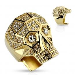 Bague crane doré serti de cristaux