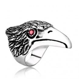 Bague homme biker en acier à tête d'aigle aux yeux rouges