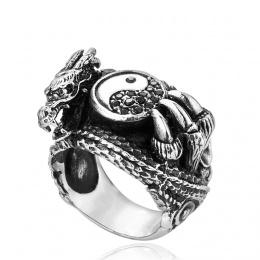Bague homme en acier à tête de dragon et symbole Yin et Yang