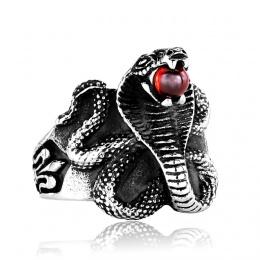 Bague homme gothique à serpent cobra tenant une orbe rouge