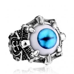 Bague homme gothique en acier à oeil démoniaque bleu et ornements infernaux