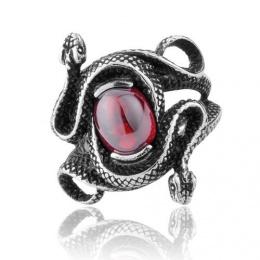 Bague mixte gothique en acier avec serpents et pierre ovale rouge