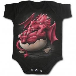 Body bébé gothique noir avec dragon rouge pensif dans son oeuf
