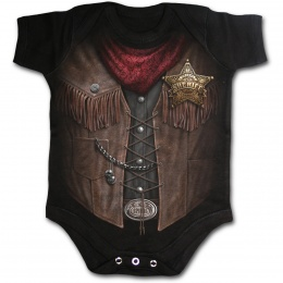 Body bébé gothique noir avec motif imitation tenue de sheriff