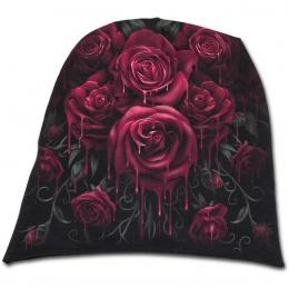Bonnet femme gothique avec roses ensanglantées