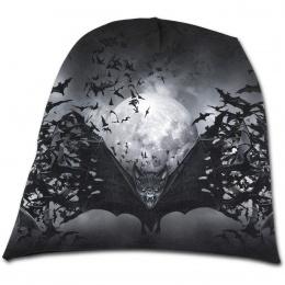 Bonnet gothique homme à nuée de chauves-souris et pleine lune