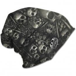Bonnet gothique homme avec motif cranes et os style catacombes