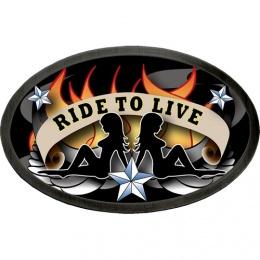 """Boucle de ceinture ovale """"Ride to live"""" avec silhouettes femmes sexy"""