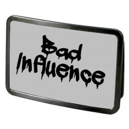 """Boucle de ceinture rectangulaire à Message """"BAD INFLUENCE"""""""