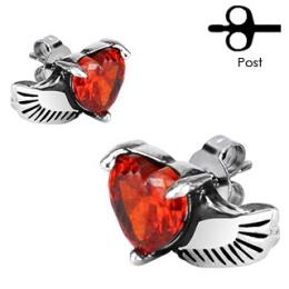 Boucles d'oreilles acier à coeur rouge ailé