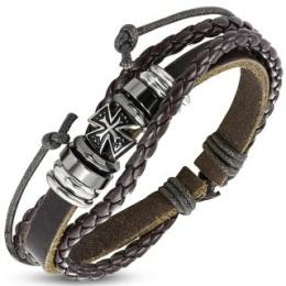 Bracelet à bande et tresses de cuir avec croix de Malte