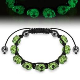 Bracelet ajustable perlé avec têtes de mort fluoresecentes