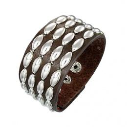 Bracelet cuir à inserts métal ovales
