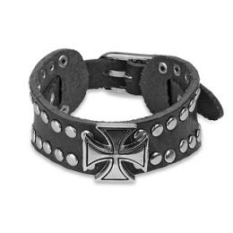 Bracelet cuir ajustable avec croix de fer