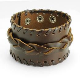 Bracelet cuir ajustable avec tresse