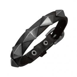 Bracelet cuir ceinture avec pyramides métal
