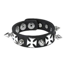 Bracelet cuir croix de fer et pointes