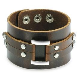 Bracelet cuir marron ajustable avec boucle et lanières