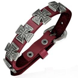 Bracelet en cuir bordeaux à croix de Malte