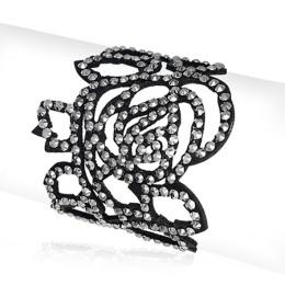 Bracelet femme similicuir noir en forme de rose style dentelle