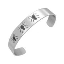 Bracelet homme acier à araignéés noires gravées