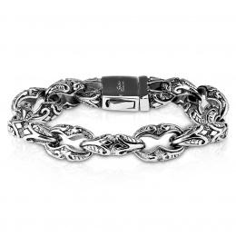Bracelet homme large en acier à reliefs tribaux