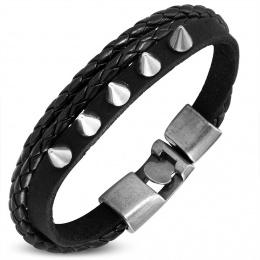 Bracelet similicuir à tresse et bande à pointes