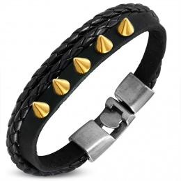 Bracelet similicuir à tresse et bande à pointes dorées