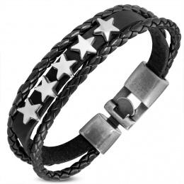 Bracelet similicuir rock à bande étoilée et tresses