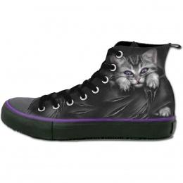 Chaussures gothiques Sneakers femme avec chat gris à griffes sorties et déchirures