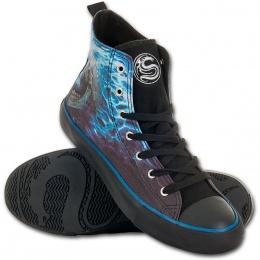Chaussures gothiques Sneakers homme à cranes en face à face et flammes bleues
