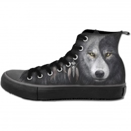 Chaussures gothiques Sneakers homme avec loup inspiration Yin et Yang