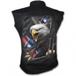 Chemise homme gothique sans manche avec Aigle et drapeau Rebelle