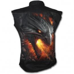 Chemise homme gothique sans manche avec sombre dragon de feu et symbole tribal