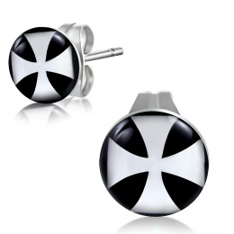 Clous d'oreilles avec croix de malte blanche sur noir