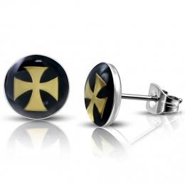Clous d'oreilles avec croix de malte dorée sur fond noir