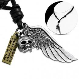 Collier cuir à crane, aille d'ange et plaque métal