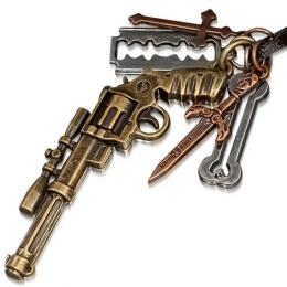 Collier cuir avec pistolet, os, rasoir, dague et croix