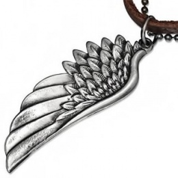 Collier cuir et métal avec pendentif aile d'aigle / ange