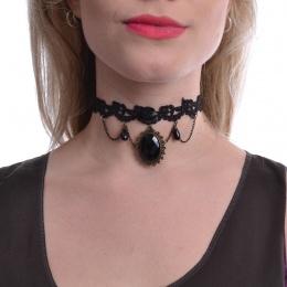 Collier gothique ras-de-cou à rose, perles et médaillon