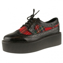 Creepers femme gothiques tartan rouge - Industrial Punk