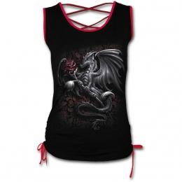 Débardeur femme gothique noir à lacets rouges avec dragon tenant une rose