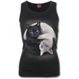 Débardeur femme noir avec chats Yin et Yang
