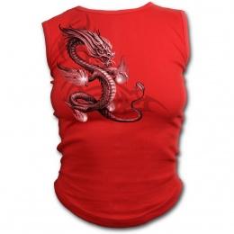 Débardeur femme rouge avec dragon asiatique