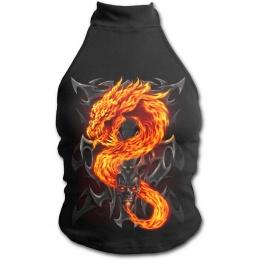 Débardeur gothique femme à épaules nues avec dragon de flamme