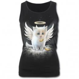 Débardeur gothique femme avec chat blanc en ange
