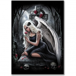 Drapeau style poster avec femme ange assise sur une tombe - ANGEL'S CRY