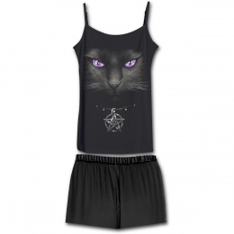 Ensemble pyjamas gothique 4 pièces à imprimé chat aux yeux violets
