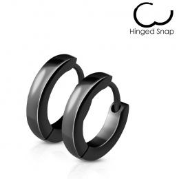 Fines boucles d'oreilles homme en acier noir bombées (paire)