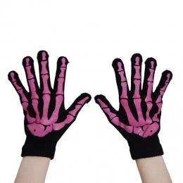 Gants femme gothiques noires à squelette rose - Poizen Industries